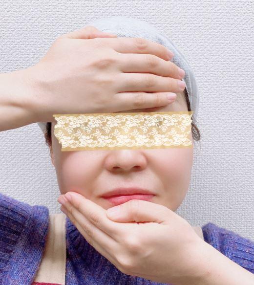 額と顎のハンドプレスの画像
